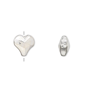 bead, jbb findings, sterling silver, electroformed, 12x11.5mm heart. sold individually.