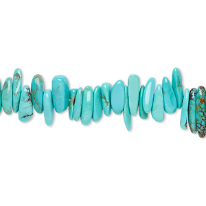 bead, kingman turquoise (stabilized), blue-green, large chip, mohs hardness 5 to 6. sold per 28-inch strand.