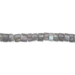 bead, labradorite (dyed), 4x2mm-5x4mm hand-cut faceted heishi, b- grade, mohs hardness 6 to 6-1/2. sold per 13-1/2 inch strand.