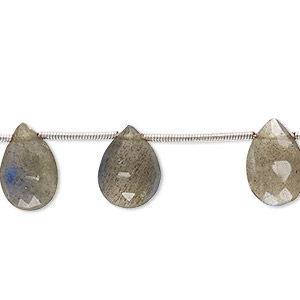 bead, labradorite (natural), 11x8mm-16x10mm hand-cut top-drilled faceted puffed teardrop, c grade, mohs hardness 6 to 6-1/2. sold per pkg of 10 beads.