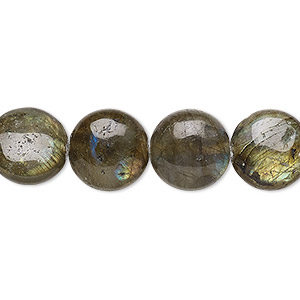 bead, labradorite (natural), 12mm flat round, a- grade, mohs hardness 6 to 6-1/2. sold per 16-inch strand.
