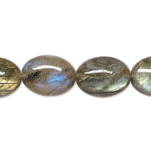 bead, labradorite (natural), 16x12mm flat oval, a- grade, mohs hardness 6 to 6-1/2. sold per 8-inch strand.