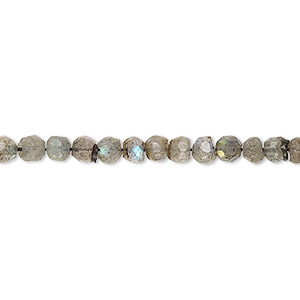 bead, labradorite (natural), 3-4mm hand-cut faceted round, b grade, mohs hardness 6 to 6-1/2. sold per 12-inch strand.