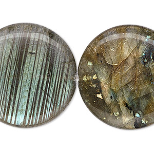 bead, labradorite (natural), 30mm flat round, a- grade, mohs hardness 6 to 6-1/2. sold per 8-inch strand, approximately 5 beads.