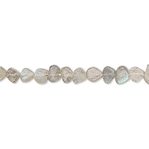 bead, labradorite (natural), 4mm-6x5mm hand-cut flat teardrop, b grade, mohs hardness 6 to 6-1/2. sold per 13-inch strand.