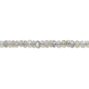 bead, labradorite (natural), 4x2mm-5x3mm hand-cut rondelle, b grade, mohs hardness 6 to 6-1/2. sold per 16-inch strand.