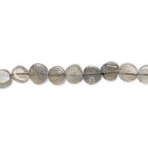 bead, labradorite (natural), 5-7mm hand-cut flat round, c grade, mohs hardness 6 to 6-1/2. sold per 13-inch strand.