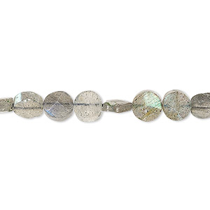 bead, labradorite (natural), 6-7mm hand-cut faceted flat round, b grade, mohs hardness 6 to 6-1/2. sold per 13-inch strand.