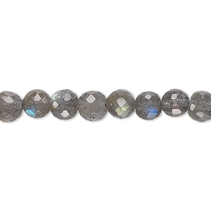 bead, labradorite (natural), 6-8mm hand-cut faceted graduated round, b grade, mohs hardness 6 to 6-1/2. sold per 18-inch strand.
