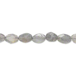 bead, labradorite (natural), 6x5mm-8x6mm hand-cut faceted puffed oval, c grade, mohs hardness 6 to 6-1/2. sold per 13-inch strand.