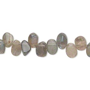 bead, labradorite (natural), 6x5mm-8x6mm hand-cut top-drilled flat oval, c grade, mohs hardness 6 to 6-1/2. sold per 7-inch strand.