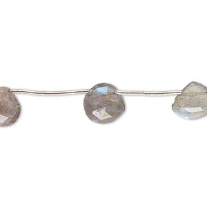 bead, labradorite (natural), 8-10mm hand-cut top-drilled faceted puffed teardrop, c grade, mohs hardness 6-1/2. sold per pkg of 9 beads.