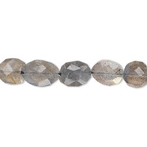 bead, labradorite (natural), 8x7mm-13x8mm hand-cut faceted puffed oval, b- grade, mohs hardness 6 to 6-1/2. sold per 13-inch strand.
