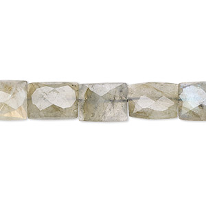 bead, labradorite (natural), 9x7mm faceted flat rectangle, c grade, mohs hardness 6 to 6-1/2. sold per 16-inch strand.