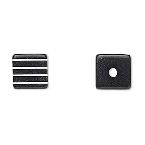 bead, laminated acrylic, black and white, 10x10mm-11x11mm cube. sold per pkg of 100.