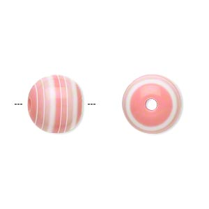 bead, laminated acrylic, pink and white, 12mm round. sold per pkg of 50.
