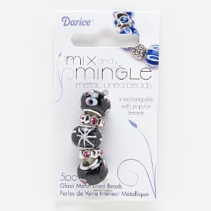 bead, lampworked glass / glass rhinestone / silver-finished pewter (zinc-based alloy), black / white / pink, 12x4mm rondelle and 15x11mm rondelle with dots / hearts / stars design, 4.5-5mm hole. sold per pkg of 5.