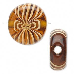 bead, lampworked glass, amber yellow and tan, 27x11mm flat oval. sold individually.