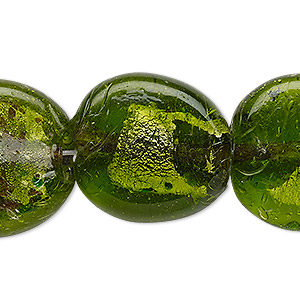 bead, lampworked glass, apple green and multicolored with silver-colored foil, 24-25mm puffed flat round with speckles. sold per 17-inch strand.