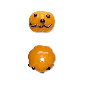 bead, lampworked glass, black and orange, 13x11mm jack-o-lantern pumpkin. sold per pkg of 4.