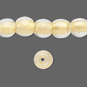 bead, lampworked glass, clear with 24kt gold foil, 10mm round. sold per pkg of 21.