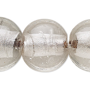 bead, lampworked glass, clear with silver-colored foil, 24-26mm puffed flat round. sold per 16-inch strand.