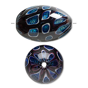 bead, lampworked glass, cobalt with silver-colored foil, 38x25mm oval. sold individually.