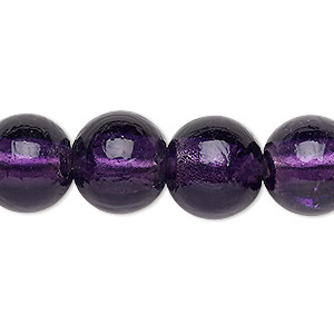 bead, lampworked glass, grape with silver-colored foil, 13-14mm round. sold per 16-inch strand.