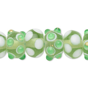 bead, lampworked glass, green / white / clear, 14x10mm rondelle. sold per pkg of 20.