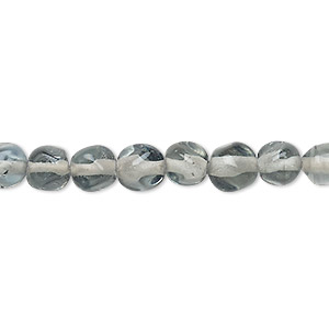 bead, lampworked glass, grey, small pebble. sold per 16-inch strand.