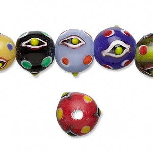 bead, lampworked glass, multicolored, 12mm bumpy round with dot and eye design. sold per 16-inch strand.