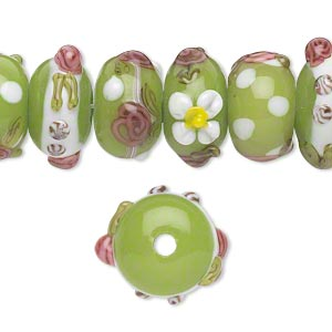 bead, lampworked glass, multicolored, 14x8mm-15x10mm bumpy rondelle with assorted flower designs. sold per pkg of 20.