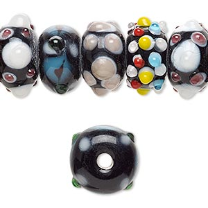 bead, lampworked glass, multicolored, 14x8mm-17x10mm bumpy rondelle with assorted designs. sold per pkg of 20.