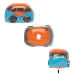 bead, lampworked glass, opaque black/blue/orange, 18x12mm double-sided bus. sold per pkg of 2.
