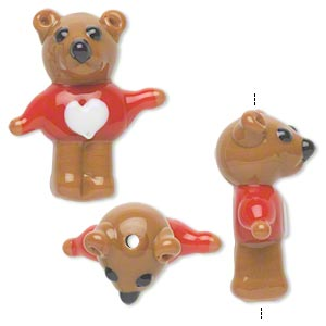 bead, lampworked glass, opaque brown/red/white, 26x20mm bear with sweater and heart. sold per pkg of 2.