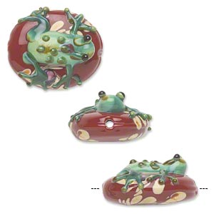 bead, lampworked glass, opaque dark red, 24x20mm flat oval with green and brown swirled frog and light brown swirls. sold per pkg of 2.