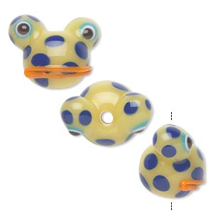 bead, lampworked glass, opaque light green/blue/orange, 20x14mm frog head with spots. sold per pkg of 4.