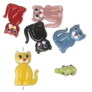 bead, lampworked glass, opaque multicolored, 22x16mm double-sided cat. sold per pkg of 6.