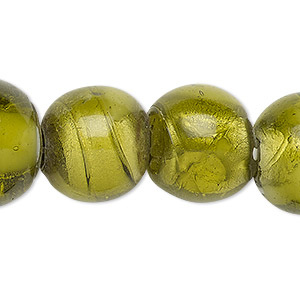 bead, lampworked glass, opaque to translucent moss green and white with silver-colored foil, 16-19mm round with spots, 2-6mm hole. sold per 15-inch strand.