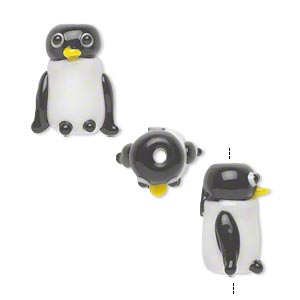 bead, lampworked glass, opaque white and black, 15x13mm penguin. sold per pkg of 4.