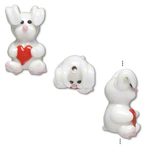 bead, lampworked glass, opaque white and red, 25x13mm rabbit with heart. sold per pkg of 2.