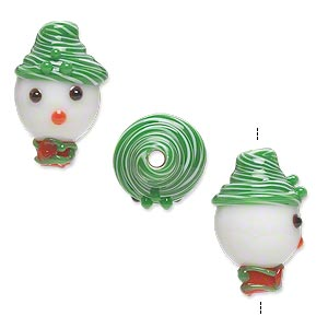 bead, lampworked glass, opaque white/green/red, 18x12mm snowman head with hat and scarf. sold per pkg of 2.