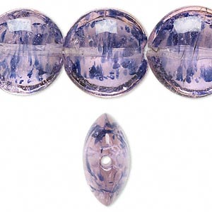 bead, lampworked glass, pink with blue glitter, 20mm puffed flat round. sold per 16-inch strand.