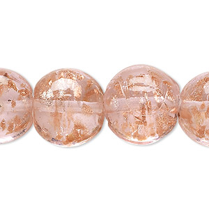 bead, lampworked glass, pink with copper-colored glitter, 16mm puffed flat round. sold per 16-inch strand.