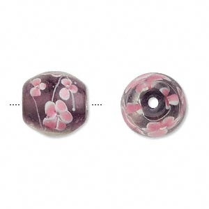 bead, lampworked glass, purple/pink/white, 17x16mm oval with flower. sold per pkg of 2.