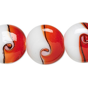 bead, lampworked glass, red / black / white, 20mm puffed flat round with swirls. sold per 16-inch strand.
