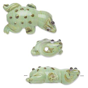 bead, lampworked glass, swirled opaque light green/dark green/brown spots, 28x16mm lizard. sold per pkg of 4.