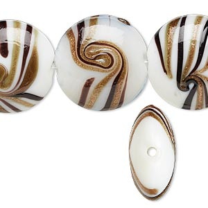 bead, lampworked glass, white / black / brown with copper-colored glitter, 20mm puffed round with swirl design. sold per 16-inch strand.