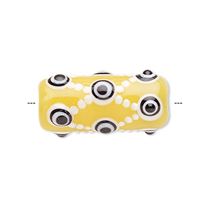 bead, lampworked glass, yellow / black / white, 30x14mm cylinder with dots, 3-4mm hole. sold individually.