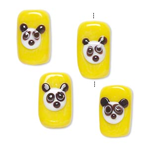 bead, lampworked glass, yellow/white/black, 16x10mm double-sided rectangle with panda face. sold per pkg of 4.